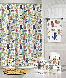 Amazon.com - Creative Bath Primary Pets Cats Dogs Shower Curtain S ...