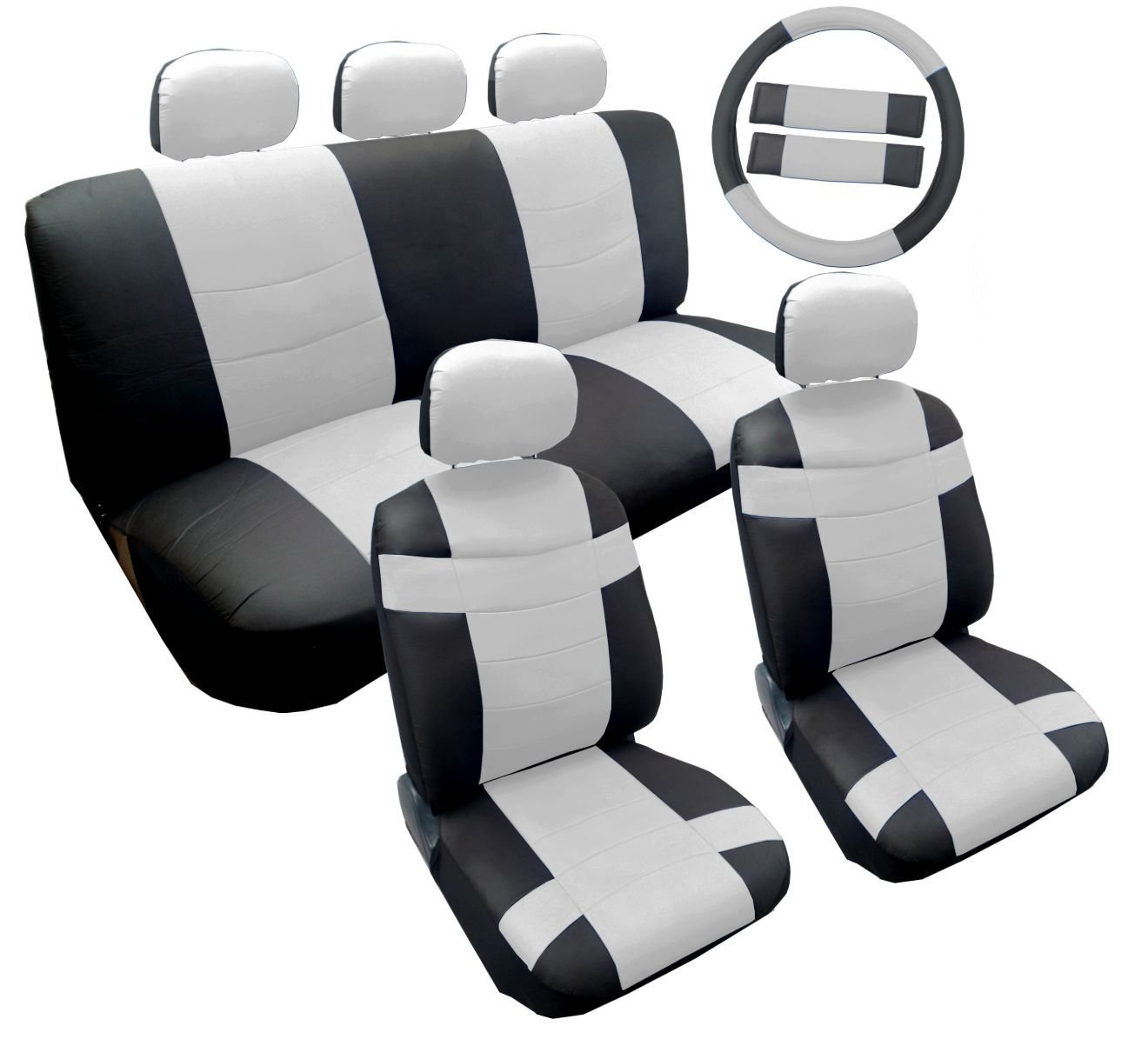 Two Tone Premium Classic White and Black Synthetic PU Faux Leather Seat Cover Set 14pc Toyota Corolla
