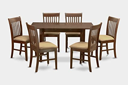 East West Furniture NOFK7-MAH-C 7-Piece Kitchen Nook Dining Table Set