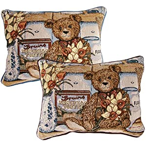 American Mills 24906.217 Daffodil Bear Pillow, 16 by 11-Inch, Set of 2