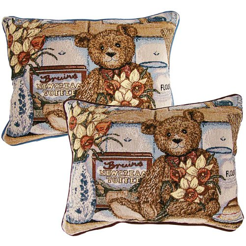 American Mills Teddy Bear 16 by 11 Pillow, Set