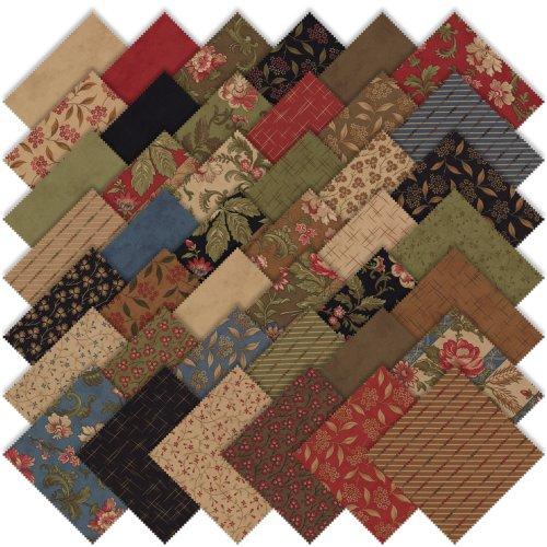 Moda Crossroads Charm Pack, Set of 42 5-inch (12.7cm) Precut Cotton Fabric Squares