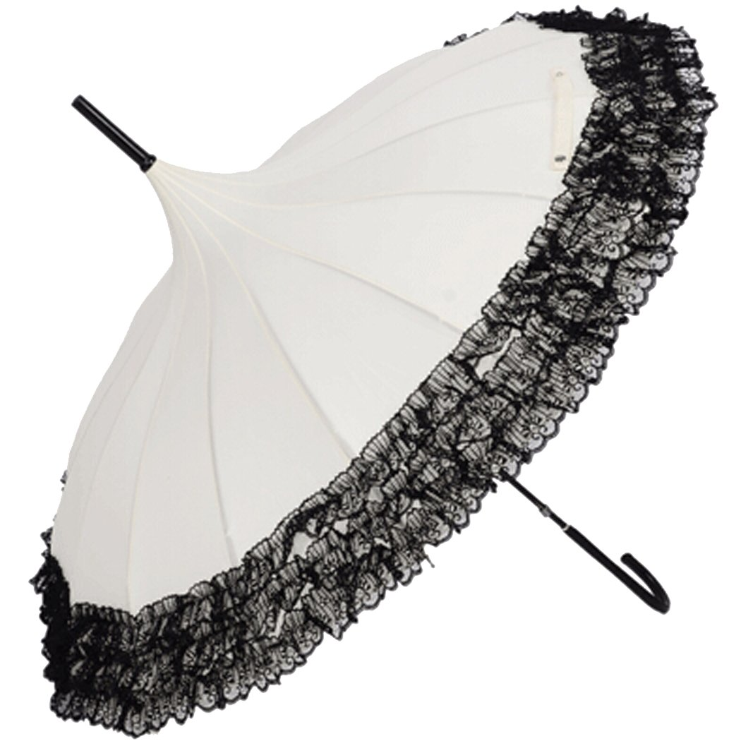 Victorian Parasols Tinksky Pagoda Umbrella Anti-Uv Parasol Sunproof Lace Trim with Hook Handle                               $19.98 AT vintagedancer.com