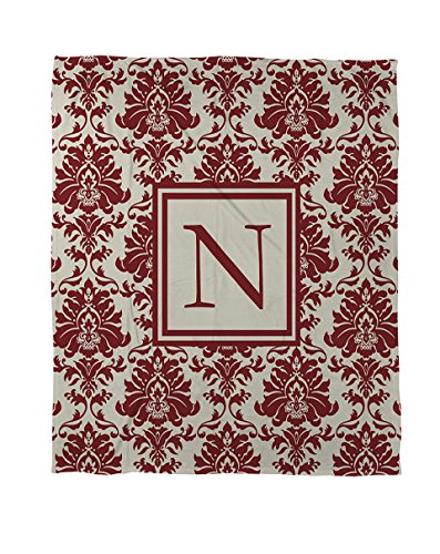 Thumbprintz Coral Fleece Throw, 50 By 60-Inch, Monogrammed Letter N, Crimson Damask front-82356