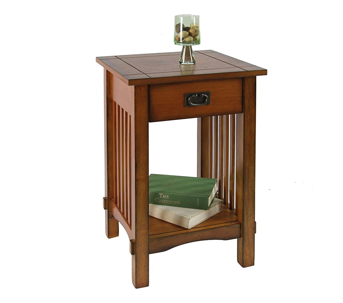 Legacy Decor Mission Style Telephone Stand/End Table in Antique Oak Finish w/Drawer