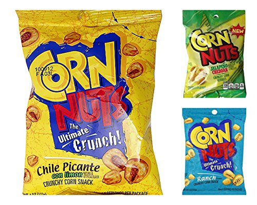 Corn Nuts Crunchy Corn Kernels Variety Bundle, 4 oz bags (Pack of 6) includes 2 Bags Ranch Flavor + 2 Bags Chile Picante Flavor + 2 Bags Jalapeno Cheddar (Corn Nuts Picante compare prices)