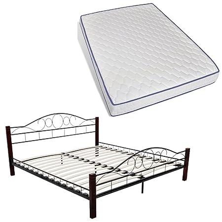 Cama de metal 140 x 200 cm, con colchón visco-elástico incluido
