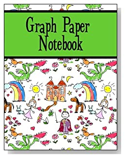 Graph Paper Notebook For Kids - Both boys and girls will enjoy the green banner and the storyland scene on the cover of this graph paper notebook for younger kids.