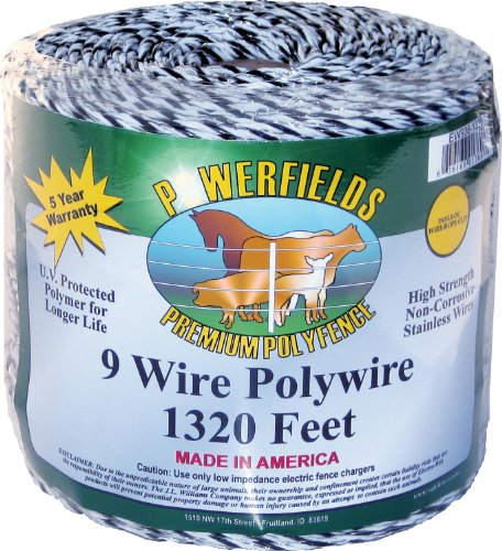 Powerfields Ew936-1320 9 Polywire, 1320-Feet, White/Black