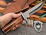 CFK Cutlery Company Custom Handmade 1095 High Carbon Walnut OREGON BANDIT BOWIE II Hunting Skinning Knife with Leather Sheath & Fire Starter Rod Set CFK180