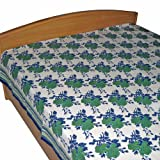 White Bed Sheet Cotton Block Printed in Queen Sizeby DakshCraft