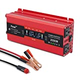Lvyuan 1000W/2000W Power Inverter Dual AC Outlets and Dual USB Charging Ports DC to AC Inverter 12V to 110V Car Converter DC 12V Inverter with Digital LCD Display (Color: Red, Tamaño: 1000WLCD)