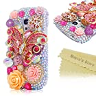 Mavis's Diary 3D Handmade Crystal Red Butterfly Flower Pearl Rhinestone Heart Diamond Bling Cover Hard Case with Soft Clean Cloth (Samsung Galaxy S III mini GT-i8190)