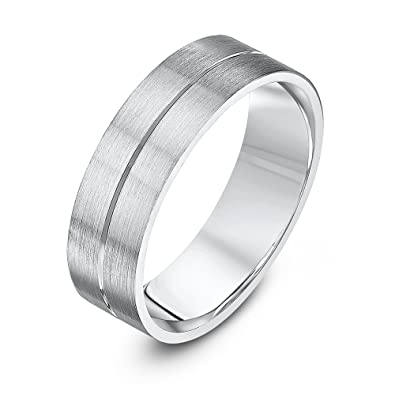 Theia Palladium 950 - Heavy Weight, Flat Court Shape, 6mm, Matted and Polished Grooved Wedding Ring