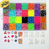MEGA COMBO - 7000 RUBBER BANDS REFILL and STORAGE ORGANIZER: Comes with 7000 Rainbow Colored Rubber Bands in 28 Specialty Colors: GOLD, SILVER, METALLIC, TIE-DYES, GLITTERS, GLOW IN THE DARK, JELLY, NEON and more! 350 S CLIPS, 12 CHARMS & BEADS are also included. This is a refill kit, loom or looms of any type are not included. Fits the rainbow loom when some compartments are removed. TALENTED KIDZ EXCLUSIVE