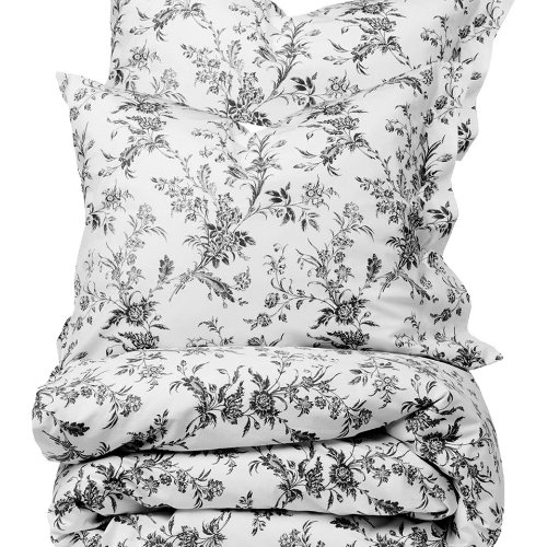 French Country White Gray Floral Full Queen Size Duvet Cover Set 100% Cotton 180 Thread Count