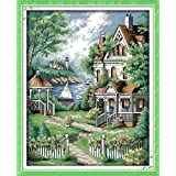Happy Forever Cross Stitch Kits 11CT Stamped Patterns for Kids and Adults, Preprinted Embroidery kit for Beginner, Scenery View and Landscape (F543 European-Style Villa, Size 15''x19'') (Color: F543 European-style Villa, Size 15''x19'')