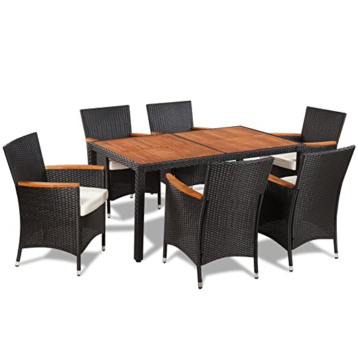 vidaXL Table à manger avec plateau en bois et 6 chaises polyrotin