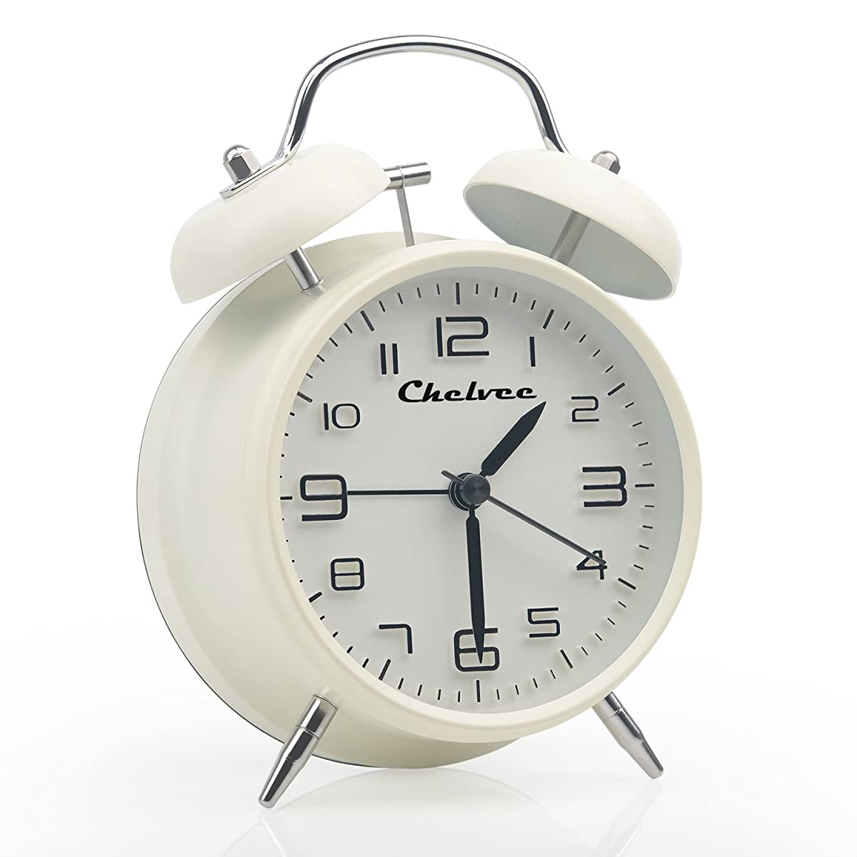 "Chelvee(TM) 4"" Antique Twin Bell Analog Quartz Alarm Clock with Nightlight, Silent Clock Mechanism, Non Ticking, Loud Alarm Bell, Battery Operated. (White)"