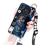 IPLUS Stand Holder Case Compatible with iPhone Xs Max, Retro Cartoon Camera Print Design, Hard Plastic Back Shell Soft Silicone Bumper Protective Cover with Long Strap (Dark Blue, iPhone Xs Max) (Color: Dark Blue, Tamaño: iPhone Xs Max)