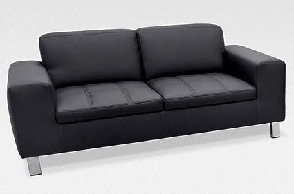 IMOLA 2er Sofa Couch 2-Sitzer Kunstleder Schwarz