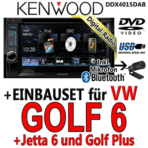 Kenwood-vW golf 6 dDX4015DAB-cD uSB autoradio multimédia 2 dIN avec kit de montage