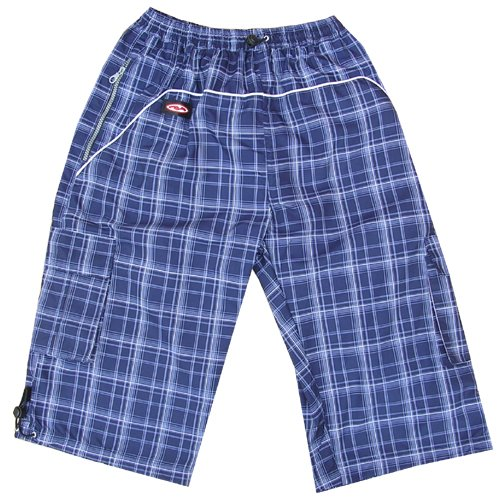 Zip Zap Zooom Mens Surf Skate Check Swim Board Sports Swimming Board Shorts Navy Blue