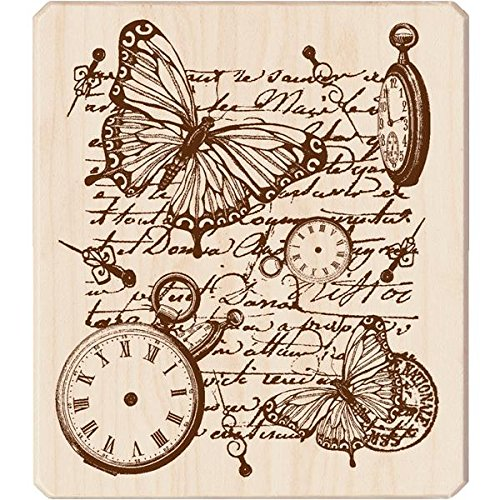 Inkadinkado Mounted Rubber Stamp, 4 by 3.5-Inch, Time Flies Collage - 1