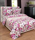 BeautifulHOMES Glory Cotton Double Bedsheet With 2 Pillow Cover - Beige and Pink