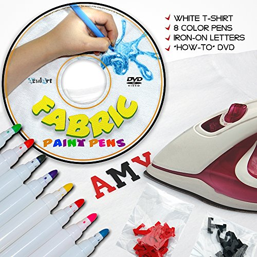 4-piece-fabric-paint-pens-kit-with-8-permanent-markers-instructional-dvd-plus-bonus-t-shirt-and-iron