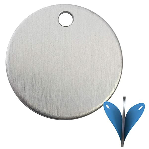 50 Pieces Stamping Blanks, 1 Inch Round with Hole, Aluminum 0.063 Inch (14 Ga.) - Protective Film on Both Sides!