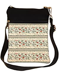 Snoogg Floral Pattern Red And Cream Cross Body Tote Bag / Shoulder Sling Carry Bag