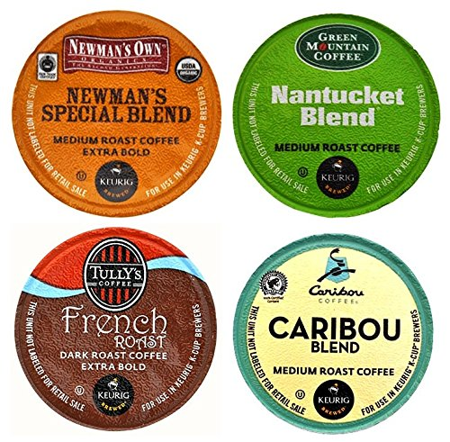 Keurig Coffee Connoisseur's Variety Pack 96 K-Cups includes Green Mountain Nantucket, Tully's French Roast, Newmans Own Special Blend, and Caribou Coffee Blend (Light Roast K Cups Nantucket compare prices)