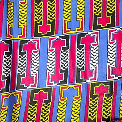 African Print Fabric Cotton Print Static 44'' wide By The Yard Blue Fuchsia Yellow White Black