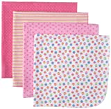 Gerber Baby-girls  4 Pack Flannel Receiving Cupcakes Blankets