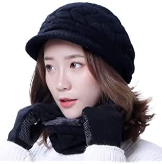 54813fdcb03 HINDAWI Winter Hats Gloves for Women Knit Warm Snow Ski Outdoor Caps Touch  Screen Mittens