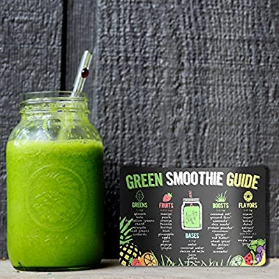 "Green Smoothie Recipes Magnet - The Perfect Healthy Drinks Cheat Sheet For Your Fridge (5.5"" x 8"")"