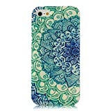 Iphone 4 Case, JAHOLAN Green Totem Flower Clear Edge TPU Soft Case Rubber Silicone Skin Cover for iphone 4S 4