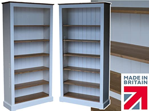 White Painted & Waxed Bookcase, 6ft x 3ft Solid Wood Contrasting Adjustable Display Shelving Unit, Bookshelves. No flat packs, No assembly (BK23-P)