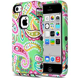 ULAK 3in1 Hybrid Paisley Flower Patterned Protective Case Cover for Apple iPhone 5C (Paisley Flower + Black PC)