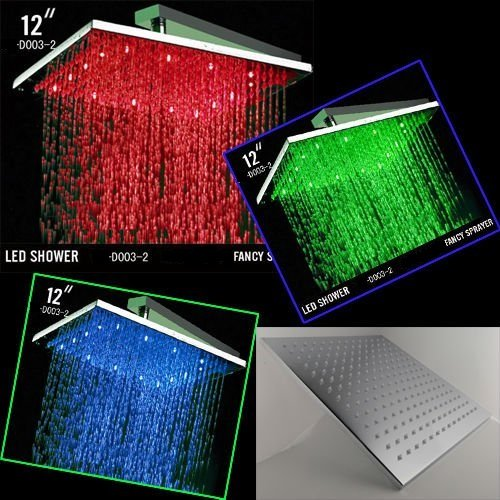 12 Inch Ceiling Mount Square Rainfall LED Shower Head, Stainless Steel with Chrome Finish (include Shower Arm)