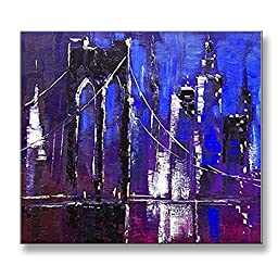 Neron Art - Hand painted Abstract Oil Painting on Gallery Wrapped Canvas - Brooklyn Bridge 20X20 inch (51X51 cm)