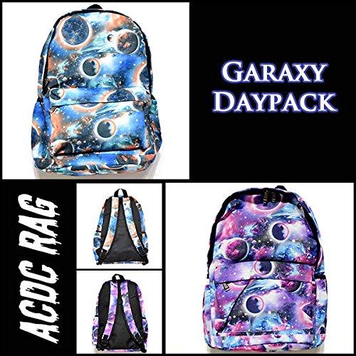 宇宙柄リュック バッグ ギャラクシー スペース コスモ デイパック原宿系 青文字系  ACDCRAG (BLUE)