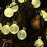 M&T TECH Outdoor Solar String Lights For Garden Patio Lawn Christmas Party Fence Window with 20 Warm White Crystal Ball