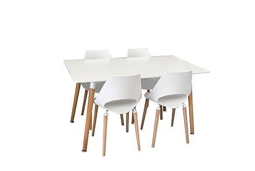 Conjunto mesa Eames BLANCA 140 x 80 cm. + 4 silla F09-2W