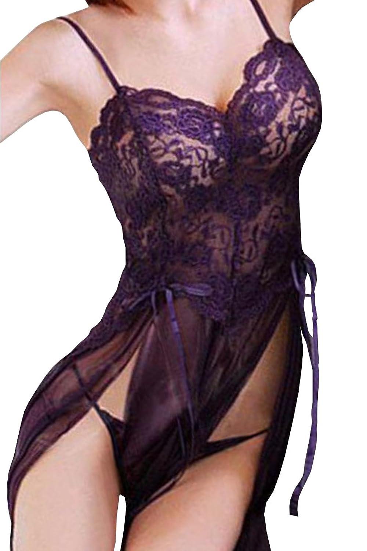 HO-Ersoka Negligee Babydoll Nachtkleid Nachthemd mit Spitze inkl. String lila XS-M