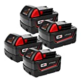 4-Pack 4.0Ah 18V M18 Battery for Milwaukee Lithium Battery Replacement Milwaukee XC 48-11-1840, 48-11-1815, 48-11-1820, 48-11- 1850 Compatible with Milwaukee 18-Volt Cordless Power Tools Batteries (Color: Black, Tamaño: Pocket Size)