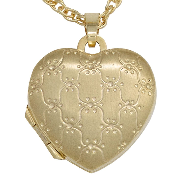 Damen Gold Medaillon Herz 333 Gold Gelbgold mattiert als Weihnachtsgeschenk kaufen