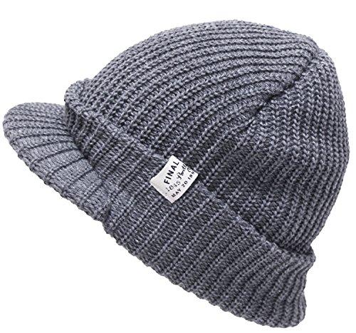 シンプルメッセージタグ付きつば付きニット帽(ニット帽子 ニットワッチ ) グレー