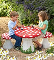 Big Sale Handpainted Mushroom Table and Set of 4 Stools Special
